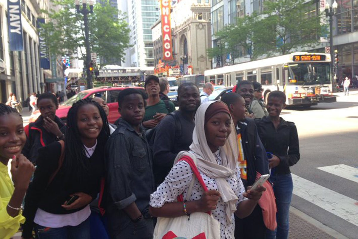 Youth participants travel around the city