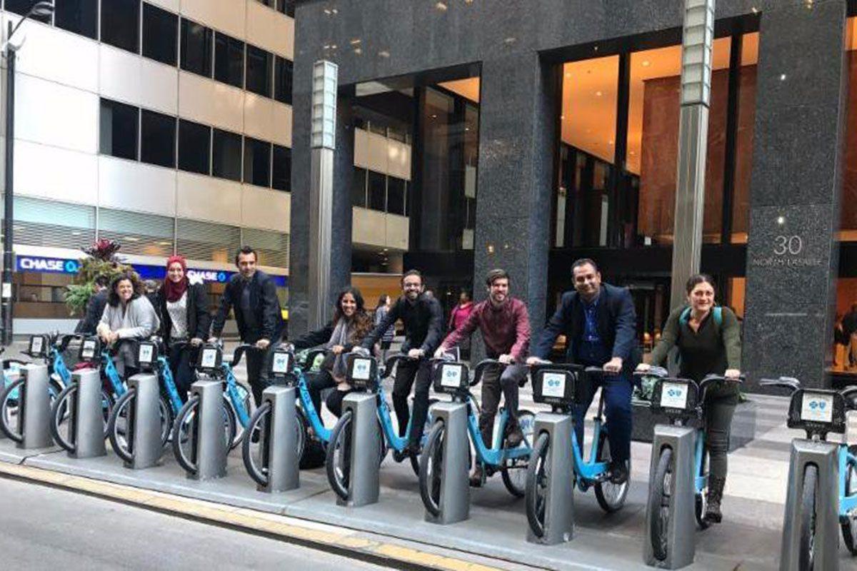 IVLP Delegates biking around Chicago
